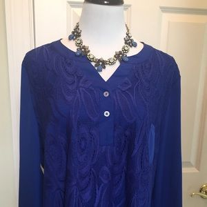 Tops - Royal blue lace and button back detail tunic